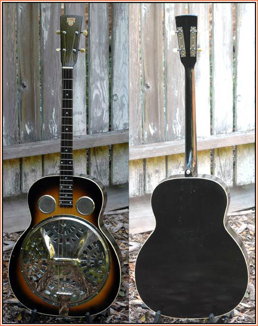 """1934 Dobro Style 37 Tenor Guitar"" by Lowell Levinger - http://www.vintageinstruments.com/photos/inst30/rwdobrotenrful.jpg. Licensed under CC BY-SA 3.0 via Commons - https://commons.wikimedia.org/wiki/File:1934_Dobro_Style_37_Tenor_Guitar.jpg#/media/File:1934_Dobro_Style_37_Tenor_Guitar.jpg"